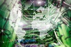 Erde 3D als Telekommunikation und Internet-Technologiekonzept lizenzfreie stockfotos