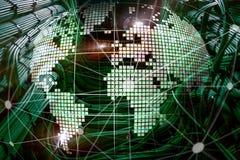Erde 3D als Telekommunikation und Internet-Technologiekonzept stockbilder