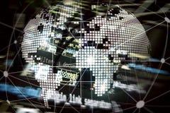 Erde 3D als Telekommunikation und Internet-Technologiekonzept lizenzfreies stockbild