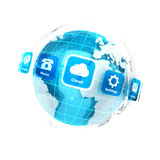 Erde 3d mit Anwendungsikonen Lizenzfreies Stockfoto