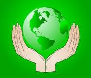 Erde in den Ihren Händen Lizenzfreies Stockfoto