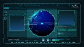 Erde in der Digital-Schnittstellenanzeige Computeranzeigefeld stock footage