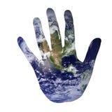 Erde in der Form einer Hand Stockfotografie