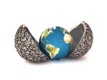 Erde in der metall Jacke lizenzfreie abbildung