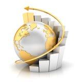 Erde des Geschäfts 3d mit Balkendiagramm Lizenzfreie Stockfotografie