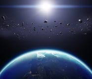 Erde des Planeten-3D mit Asteroiden Elemente dieses Bildes geliefert Lizenzfreies Stockbild