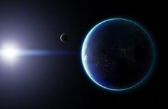 Erde des Planeten-3D mit Mond Elemente dieses Bildes geliefert durch N Stockfoto