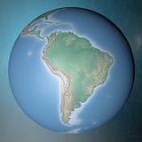 Erde, die auf sauberem Raum Südamerika steht Stockfotografie