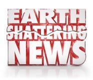 Erde, die Nachrichten-dringenden Informations-Aktualisierungsvorgang zerbricht stock abbildung