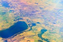 Erde. Draufsicht der Flugzeuge. Stockfotografie