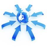 Erde in einer Umwelt von blauen Pfeilen Stockfoto
