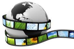 Erde eingewickelt im Film Stockfotografie