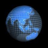 Erde, Fokus auf Asien, auf Schwarzem Lizenzfreie Stockfotos