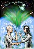 Erde, Frau, Mann und das Universum Stock Abbildung