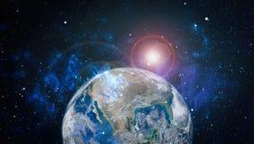 Erde, Galaxie und Sonne Elemente dieses Bildes geliefert von der NASA Lizenzfreie Stockfotos