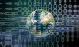 Erde hinter einem digitalen Rasterfeld vektor abbildung