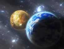 Erde ähnlicher Planet mit Mond Lizenzfreie Stockfotografie