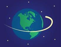 Erde im Platz mit Schießenstern vektor abbildung
