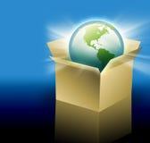 Erde im Verschiffen-Anlieferungs-Kasten Stockfoto