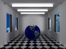 Erde innerhalb des futuristischen grauen Raumes Stockfotografie