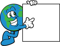 Erde-Karikatur-Maskottchen, das auf eine Meldung zeigt Stockbild