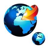 Erde-Kugel mit glattem Effekt und Pfeil vektor abbildung