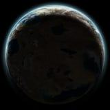 Erde mag den Planeten, der in Raum nachts steigt Lizenzfreies Stockfoto