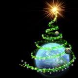 Erde mit abstrakter Weihnachtsbaumspirale Lizenzfreies Stockfoto