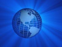 Erde mit blauen Strahlen Stockbild