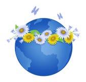 Erde mit Blume Wreath Stockfotografie