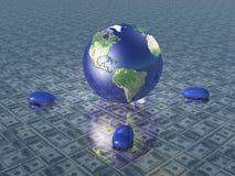 Erde mit Computermäusen Stockfoto