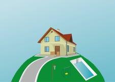 Erde mit dem Haus Stockbilder