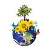 Erde mit einem Baum und Blumen über einem Weiß lizenzfreie abbildung