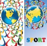 Erde mit Herzen in olympischem colors.Banners.Vector Stockfotos