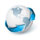 Erde mit Pfeilkreis herum Lizenzfreies Stockfoto