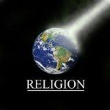 Erde mit religiösem Lichtstrahl mit schwarzem Hintergrund Stockbild