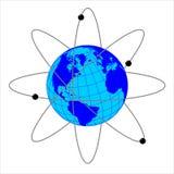 Erde mit Satelliten Stockfotografie