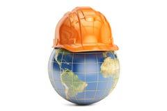 Erde mit Schutzhelm, Wiedergabe 3D Stockfotos