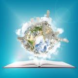 Erde mit Stapel von Dollar auf ihr schwimmend über ein offenes Buch Stockbilder