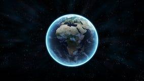 Erde mit Sternen Stockfoto
