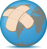 Erde mit Verband Stockfoto