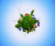 Erde mit Windkraftanlagen und Sonnenkollektoren Lizenzfreies Stockfoto
