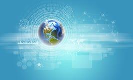 Erde mit Zahlen, Netz und Rechtecken Lizenzfreie Stockfotos