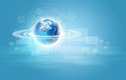 Erde mit Zahlen und transparenten Rechtecken Lizenzfreies Stockfoto