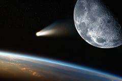 Erde, Mond, Komet im Raum Lizenzfreie Stockfotos