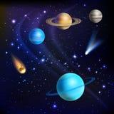 Erde, Mond und Rakete Stockfotos