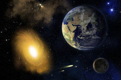 Erde, Mond und Galaxie. lizenzfreie abbildung