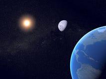 Erde, Mond und Sun mit Milchstraße Stockfotos