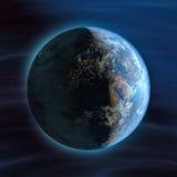 Erde (Nachteuropa-Ansicht) Lizenzfreies Stockfoto