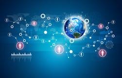 Erde, Netz mit Leuteikonen und Diagramme Lizenzfreie Stockfotos